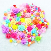 200pcs/lot mix resin rose flowers mix colors DIY resin cabochons accessories 8mm-25mm(China)