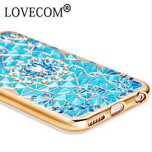 Luxury Electroplating Diamond Flowers Soft TPU Phone Back Cover Cases For iPhone 6 For iPhone 6 6S Plus Mobile Phone Capa Fundas