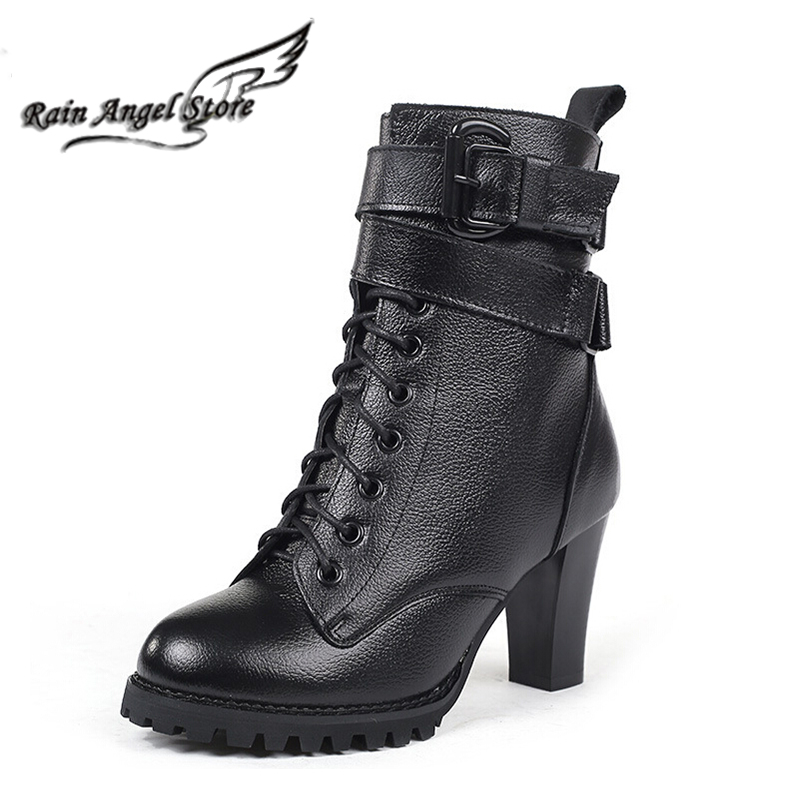 European Women Leather Boots Thick High Heels Boots Female Buckle Genuine Leather Pointed Toe Jackboots boats<br><br>Aliexpress