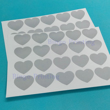Scratch Off Sticker 27mm x 32mm Love Heart Shape Silver Color For Secret Code Cover Home Game Wedding(China)