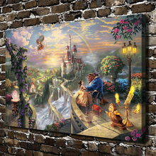 Thomas Kinkade Beauty and Beast Cartoon Canvas Print Painting Home Decoration Artwork for Baby Child Room Wall Art Fashion Gift