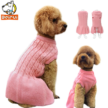 Buy Pink Warm Dog Sweater Knitwear Autumn Winter Dress Pets Clothes Puppy Clothing Coat Apparel Small Medium Dogs Cat Chihuahua for $7.59 in AliExpress store