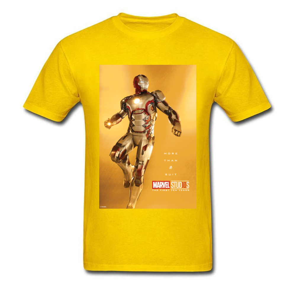 Tops Tees Marvel More Than A Suit Thanksgiving Day Short Sleeve Pure Cotton Round Neck Men Top T-shirts Casual Tshirts Prevalent More Than A Suit yellow