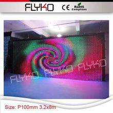 P100mm 3.2x8m design dimension software programmer led video curtain wall decoration for event stage