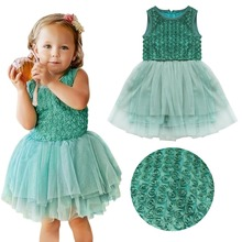 iEFiEL Kids Baby Girls Dark Green Lace Rose Tulle Dress Wedding Flower Girl Birthday Princess Party Dress Summer Sundress 2-6Y
