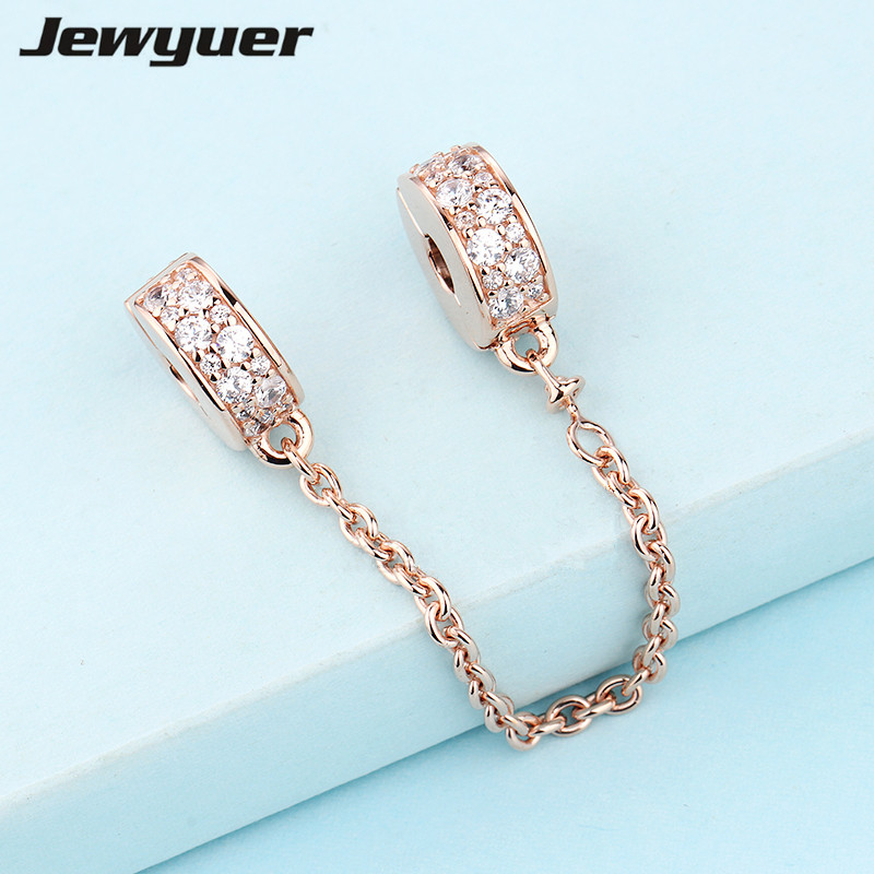 New Shining Elegance Safety Chain charms Rose gold Fit charm bead 925 sterling silver bracelets DIY gift fine jewelry SF017