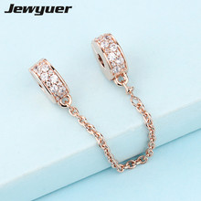 Buy New Shining Elegance Safety Chain charms Rose gold Fit charm bead 925 sterling silver bracelets DIY gift fine jewelry SF017 for $16.28 in AliExpress store