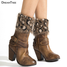 Dream Tree Women Winter Leg Warmers Imitation Fur Leopard Style With Feather Yarn Material Ladies Leg Warmers 2017 New Design(China)