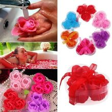 3pcs Bath Body Flower Heart Favor Soap Rose Petal Wedding Decoration Party Gift