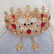 New Vintage Wedding Bridal Crystal Peal Golden Crown Baroque Stely Queen Prom Diadem Hair Ornaments Photography Accessories