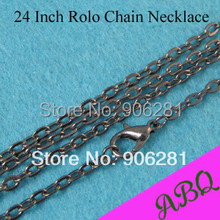 60cm Gunmetal Rolo chain necklace, 24 Inch Gunmetal Chain Necklace, Metal Necklae Chains 3mm Thick Oval Link Style