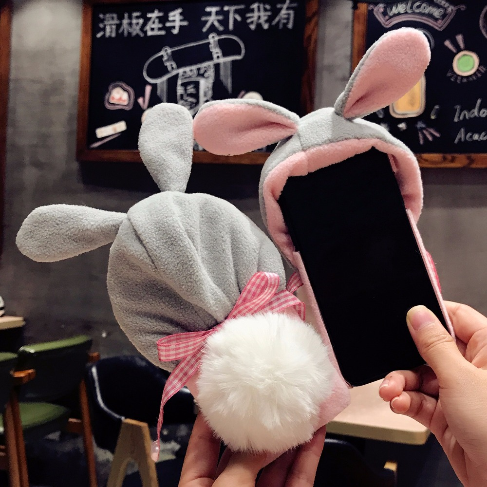 1DOEES Luxury Warm Cute Case For iPhone 7 7 Plus 6 6S Plus X Phone Cases Plastic Winter Furry Rabbit Hat Cover For iPhone X Coque (5)