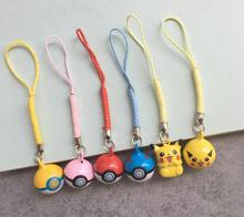 Free Shipping 100 pcs Cute Japanese Anime Ball Pendant Cell Phone Charm Straps with Bell Cartoon For Gift T-900(China)
