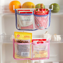 Modern Storage Bag Food Organizer Fridge Storage Bag with 2 Hooks Save Space Kitchen Refrigerator Hanging Storage Bags Blue Pink(China)