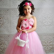 Baby Girl Pink Tutu Dress with Headband Flower Kids Dress for Birthday Party Wedding Ball Gown TS084