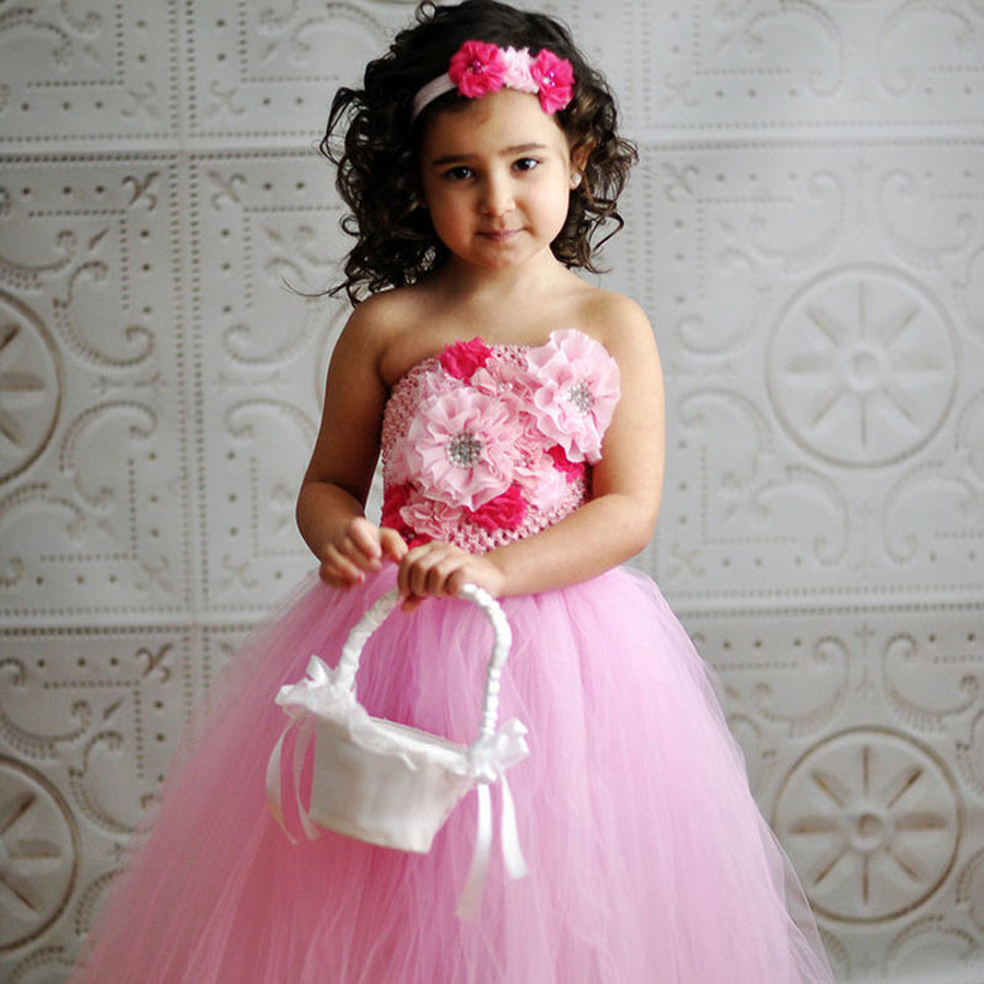 Baby Girl Pink Tutu Dress with Headband Flower Kids Dress for Birthday Party Wedding Ball Gown TS084<br><br>Aliexpress