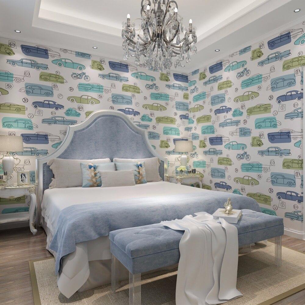 Car Pattern Non-woven Wallpaper for walls 3 D Kids Room Eco-friendly Wall paper Home Decor QZ0426 papel de parede<br>