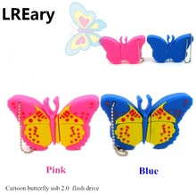 crazy hot cartoon butterfly usb flash drive cute pendrive 4GB 8GB 16GB 32GB u disk pen drive memory disk silicone real capacity(China)