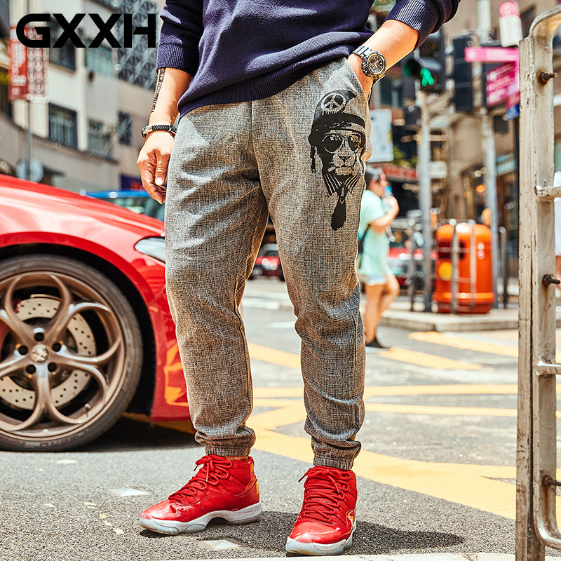 GXXH 2018 Autumn Winter Fashion Brand Men's Big Size Pants Breathable Fabric Plus Animal Printed Loose Streetwear Trousers Gray
