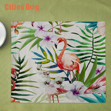 Placemat animal Flamingo decoration table disc pads Green tropical plants butterfly pad coasters cloth pad slip-resistant pad