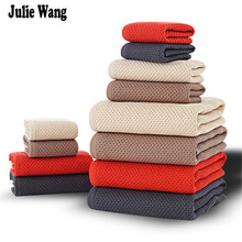 Julie Wang Bath Towel Set Pack 3 Comfort Netting Cotton Towels Hand Face Clean Bathroom Towels YW-359