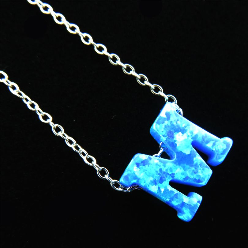 21655 Blue Fire Opal Pendant Alphabet M Letter Necklaces Name Jewelry  Silver Tone Stainless Steel Necklace