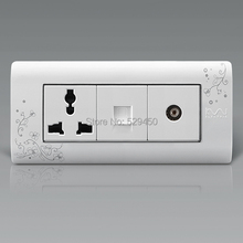 Free Shipping, Kempinski Luxury Computer and TV Socket With Electrical Outlet, Wall Single Power Outlet, 154mm*72mm