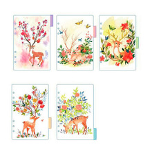 2017 Cute Sing Deer A5 A6 Spiral Notebook Loose Leaf Transparent PP Separator Pages Deer 5 sheets Separate Match filofax Kikkik