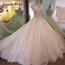 Buy Angel Tree Gorgeous champagn bridal gown 3D flowers short sleeves ball gown lace wedding dress vestidos de noivas real photos for $227.66 in AliExpress store