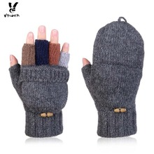 Vbiger Unisex Wool Knitted Fold Back Gloves Winter Warm Mittens Convertible Gloves Winter Fingerless Half-finger Driving Gloves(China)