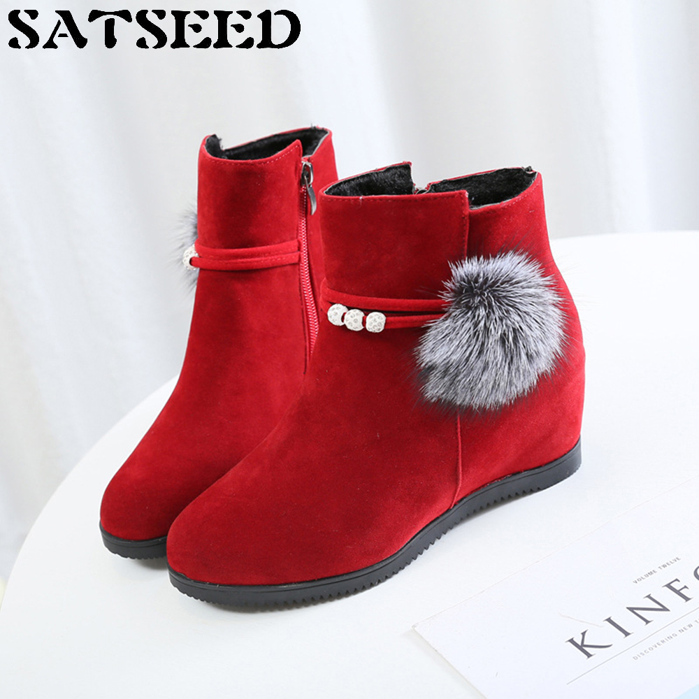 Shoes 2018 Snow Boots Fur Ankle Boots Brand Winter Boots Women Wedge Heel Shoes Winter Leather Wedge Round Head Flat Hidden Heel<br>