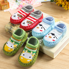 Baby shoes socks Children Infant Cartoon Socks Baby Gift Kids Indoor Floor Socks Leather Sole Non-Slip Thick Towel Socks(China)