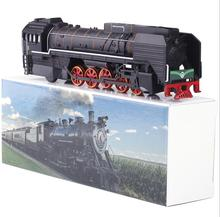 Retro Forward gas locomotive steam train High quality alloy simulation model trains1:87 Kids toy light pull back sound