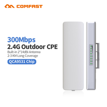 2pcs Comfast CF-E314N 300M Wireless Access Point Outdoor AP WIFI Router Repeater 2* 14dBi Antenna WI FI Extender 48v PoE router(China)