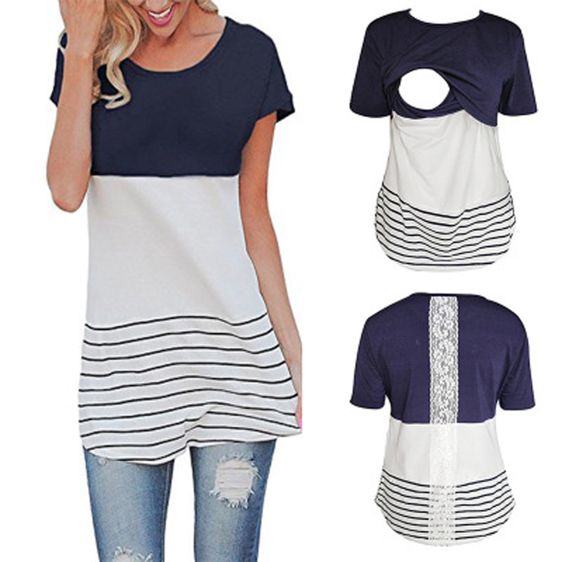 Women Mom Maternity Stripe Patchwork T Shirt Nursing Long Sleeve Tops Blouse Tee