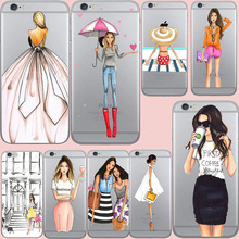 Nephy Cell Phone Cover For iPhone 5 6 7 S 5S 6S Plus SE 6plus 7plus Case Clear TPU Ultrathin Cute Fashion Beautiful Girl Housing