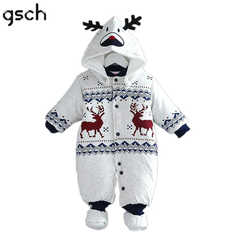 GSCH Baby Boy Clothes Winter Christmas Deer Baby Warm Romper Cotton Jumpsuit Hooded Infant Outfit Baby Girl Clothes Roupa Infant<br><br>Aliexpress