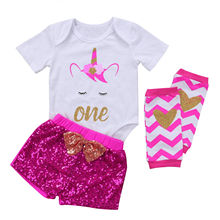 Newborn Toddler Baby Girls Romper Tops Sequins Pants Outfits Set Party Clothes Unicorn Infant Girls Print Letter Top Short 3pcs(China)
