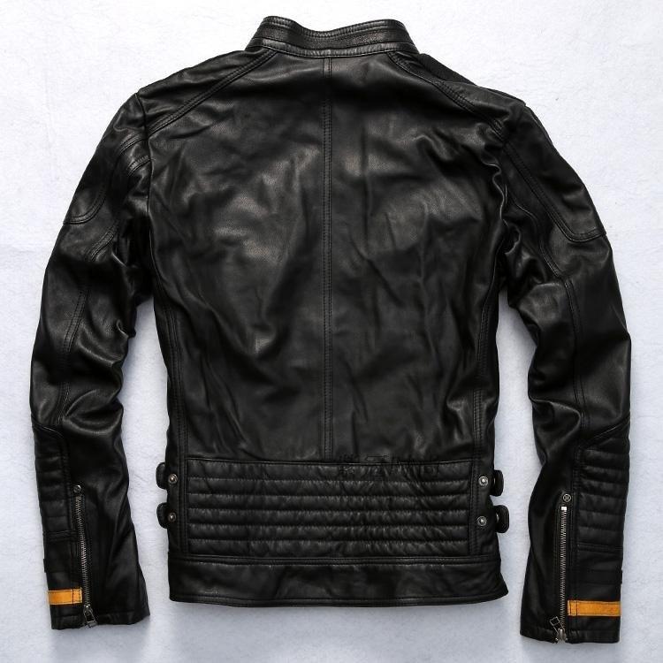 Brand patchwork slim genunie leather jacket men black real sheepskin coat biker wind jacket men rivet motorcycle jacket male