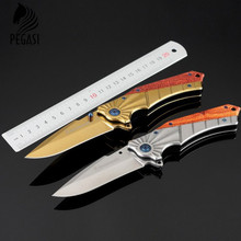 Folding Pocket Knife Steel Blade Wood Handle Titanium Knives Outdoor Hunting Tool Camping Knife Metalworking Folding blade knife
