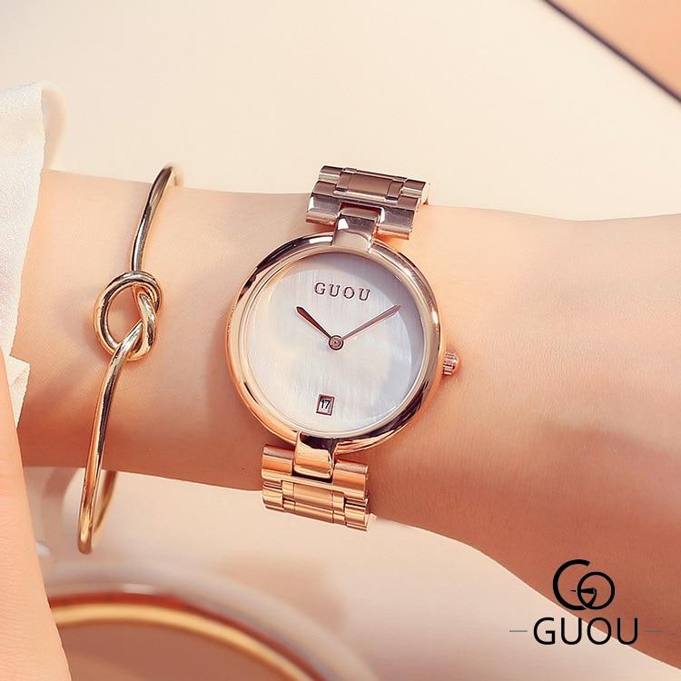 GUOU Fashion Quartz Watch Women Rose Gold Steel Band Bracelet Watch Ladies Dress Datejust Wristwatch Clock Hodinky relojes mujer<br>