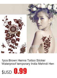 50pcs/lot Black Arabic Tattoos Women Arm Designs,Beautiful Flower Butterfly Waterproof Fake Temporary Tattoo Stickers Wholesale 12