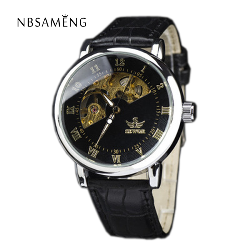 Brand Automatic Self Wind Wristwatch Man Mechanical Skeleton Gold Luxury Watches Leather Strap Fashion Male Watch 3 Colors LZ342<br><br>Aliexpress