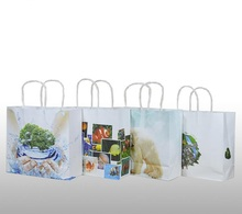 Qi 20pcs/lot Kraft Paper Bag Paper Gift Bag With Handle Eco Friendly Theme Packing Clothing Packaging Promotion Bag