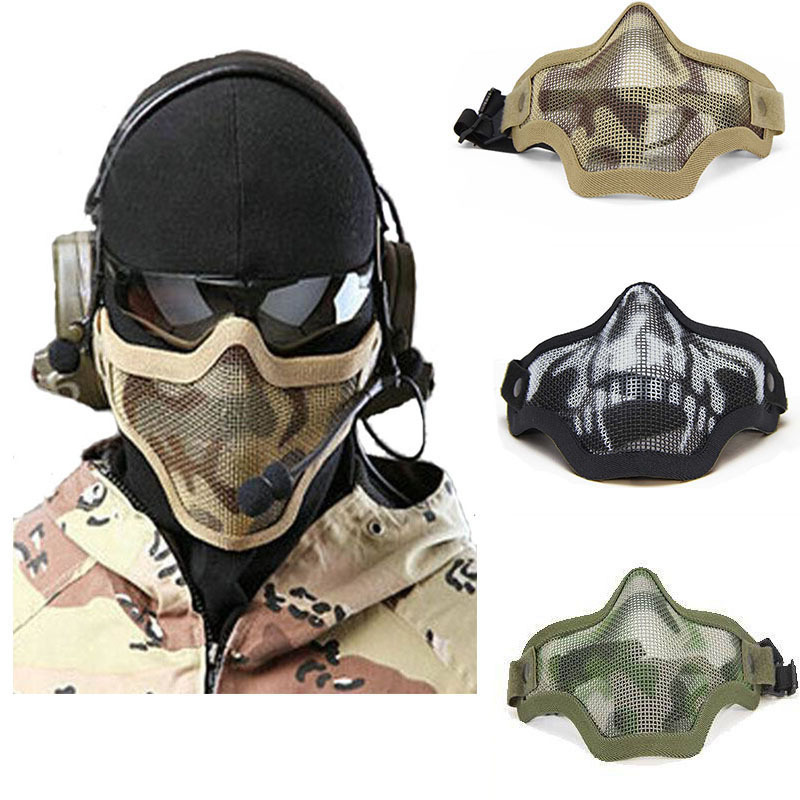 Lower Half Face Metal Steel Net Mesh Masks Outdoor Hunting Tactical Masks CS Paintball Airsoft Protective Masks Adjustable(China (Mainland))