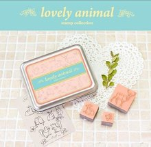 Hot sale sweet design good quality wholesale , iron box stamp set stampDecorative funny work- Animal .cute lovey school stat(China)