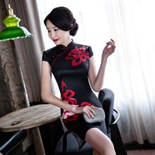 Buy Black Chinese Traditional Dress Women Short Mini Qipao Fashion Silk Rayon Cheongsam Flower Mujer Vestido S M L XL XXL for $19.89 in AliExpress store
