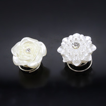 10pcs White roses dotted transparent imitation brick Twist Hair Spin Pins Women Fashion Hair Jewelry Party Accessories LS-21(China)