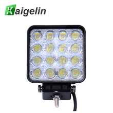 4Pcs Square LED Spotlights 48W 12V 4800LM 16 x 3W IP67 Car Light Bar Worklight For Truck SUV Automobile Outdoor Lighting(China)
