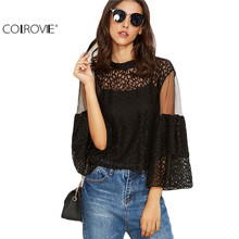 COLROVIE Black Lace Mesh Insert Keyhole Back Shirt With Cami Top Women Plain Round Neck 3/4 Sleeve Blouse